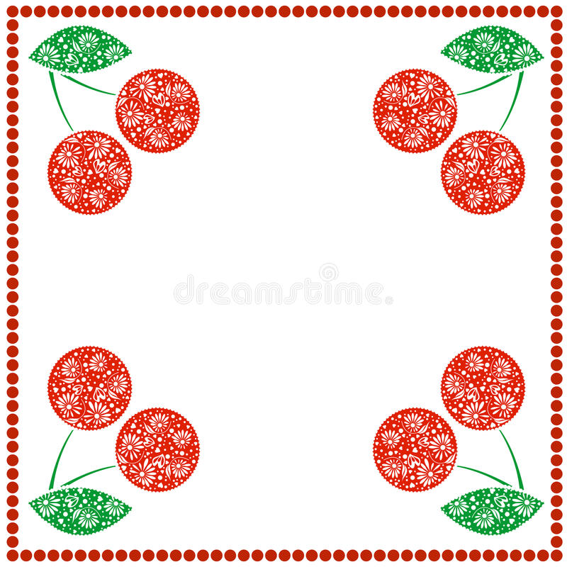 Vector card with berries. Empty square form with ornamental cherries, leaves and border with dots. Decorative frame. Series of Cards, Blanks and Forms vector illustration