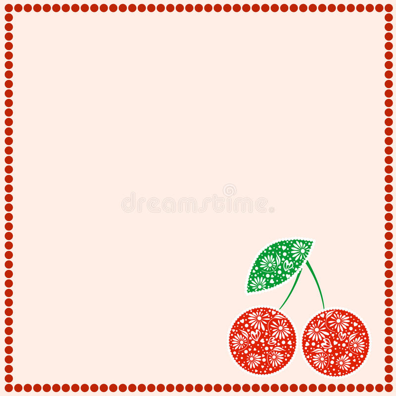 Vector card with berries. Empty square form with ornamental cherries, leaves and border with dots. Decorative frame. Series of Cards, Blanks and Forms royalty free illustration