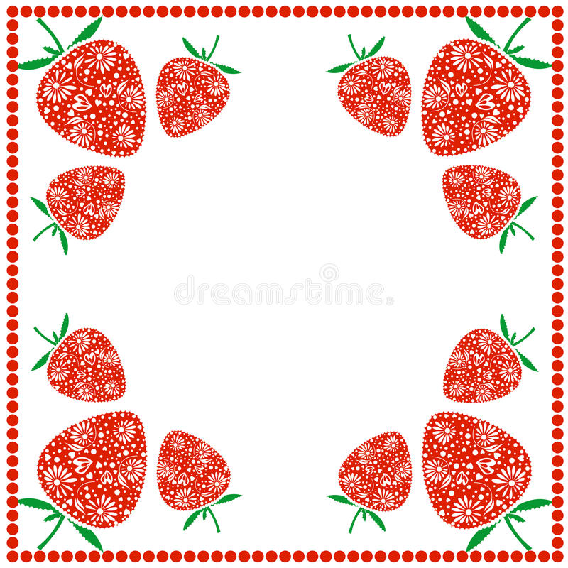 Vector card with berries. Empty square form with ornamental strawberries and border with dots. Decorative frame. Series of Cards,. Blanks and Forms vector illustration