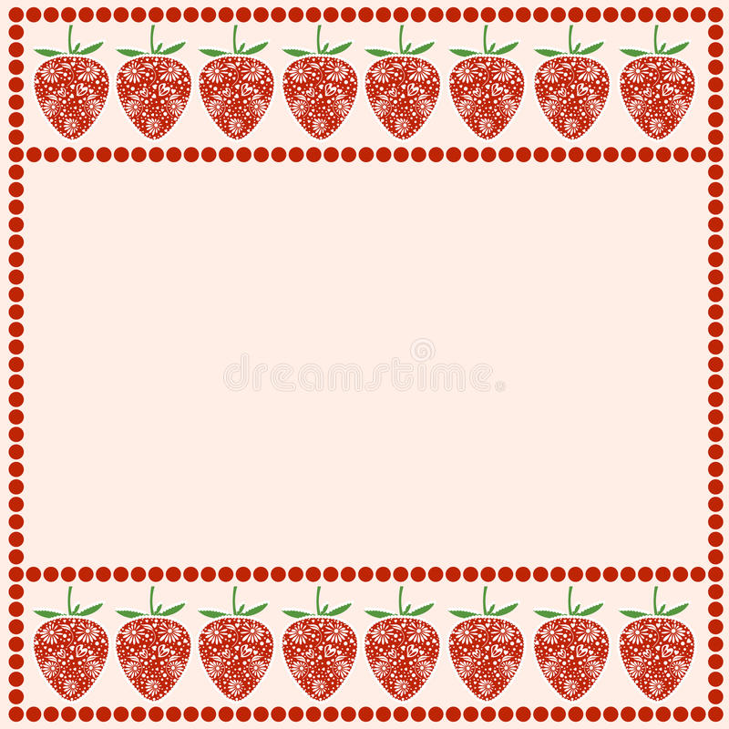 Vector card with berries. Empty square form with ornamental strawberries and border with dots. Decorative frame. Series of Cards, Blanks and Forms royalty free illustration