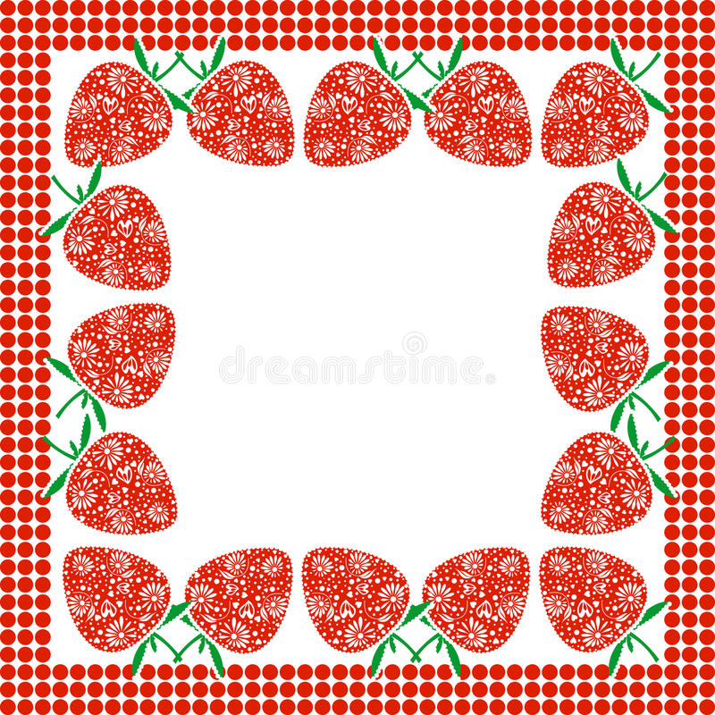 Vector card with berries. Empty square form with ornamental strawberries and border with dots. Decorative frame. Series of Cards, Blanks and Forms stock illustration