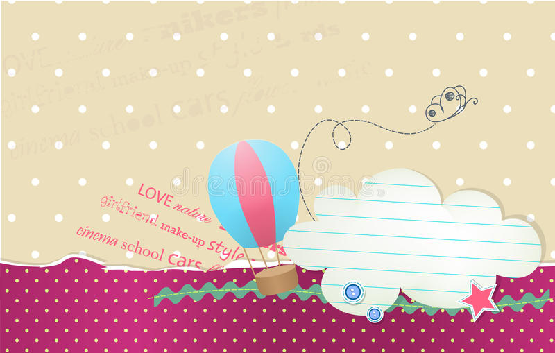 Vector card with bubble cloud for text and balloon. Vector card with bubble cloud for text vector illustration