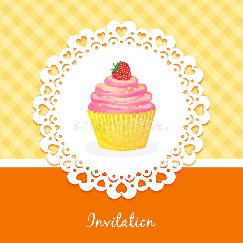 Vector Card With Cake And Strawberries Royalty Free Stock Image