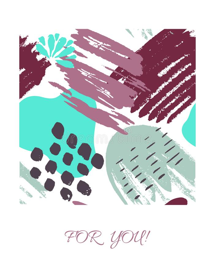 Vector card with color ink brushes grunge pattern. Hand drawing background . royalty free illustration