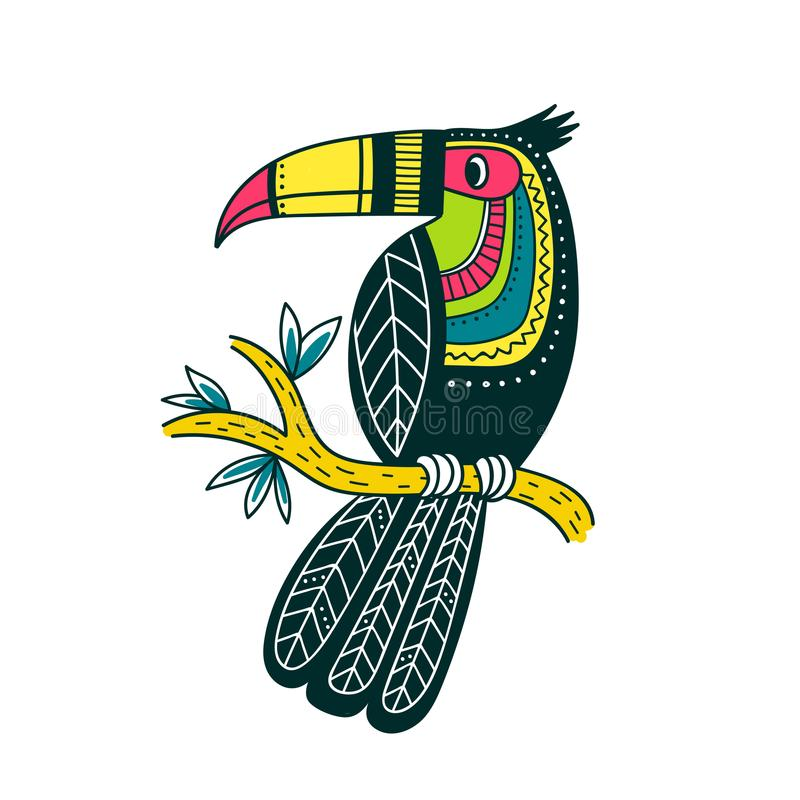Vector illustration of cute colorful toucan in boho style stock illustration