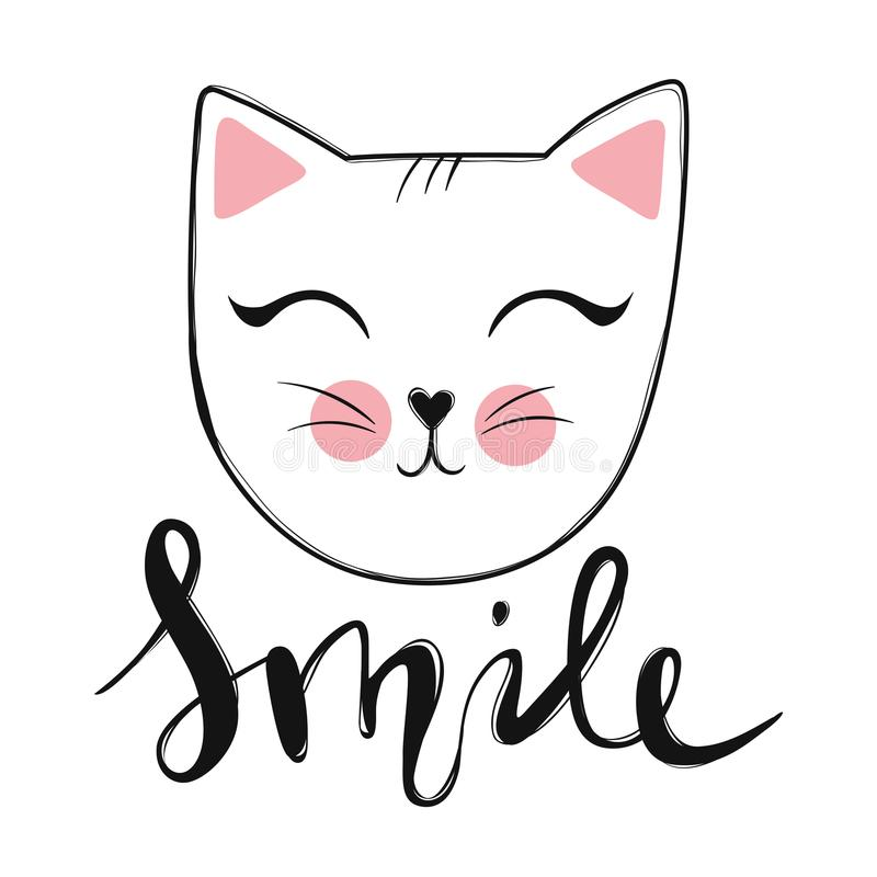 Vector card with cute fashion cat. Stylish kitten. Doodle Kitty. Kids animals print. Funny character. Cute illustration, trendy design royalty free illustration