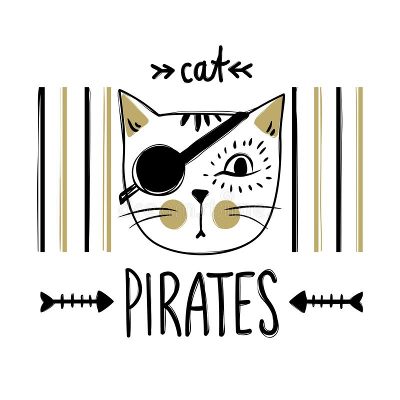 Vector card with cute pirate cat. Stylish kitten. Doodle fashion vector illustration