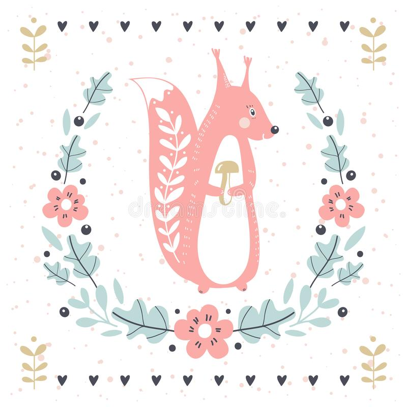 Vector card with cute squirrel and wreath. Illustration for children`s prints, greetings, posters, t-shirt, packaging royalty free illustration