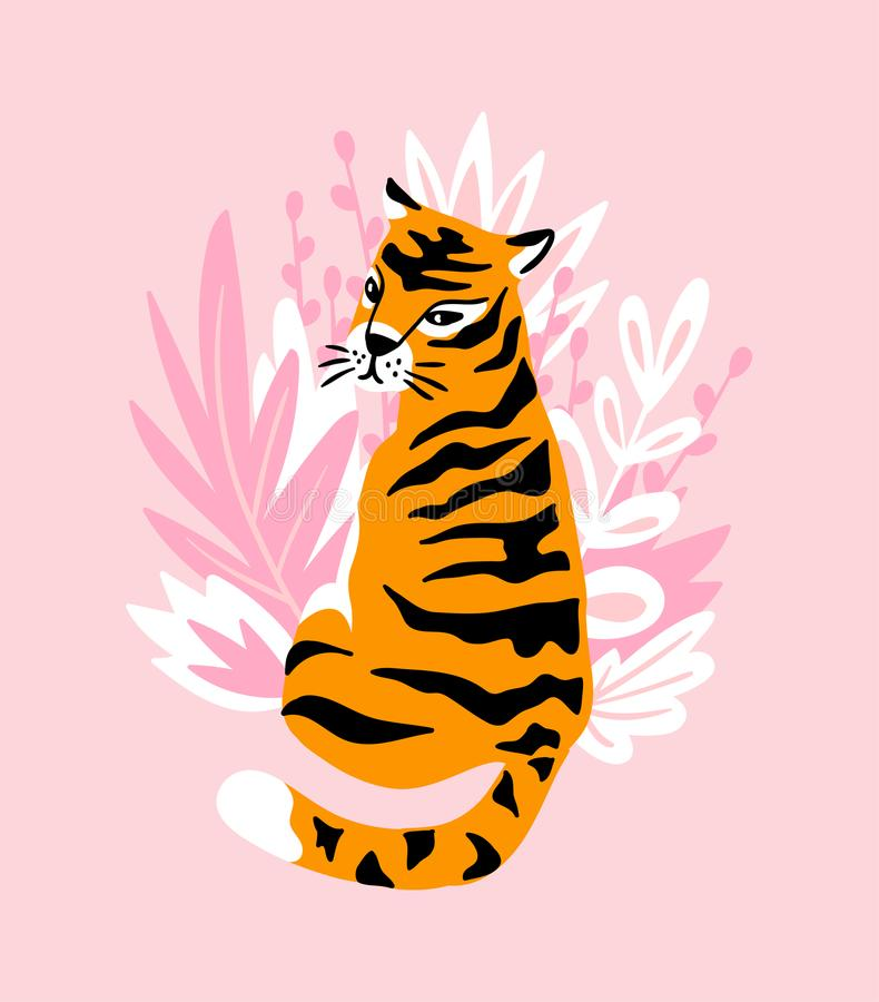 Vector card with cute tiger on the pink background and tropical leaves. Beautiful animal print design for t-shirt. vector illustration