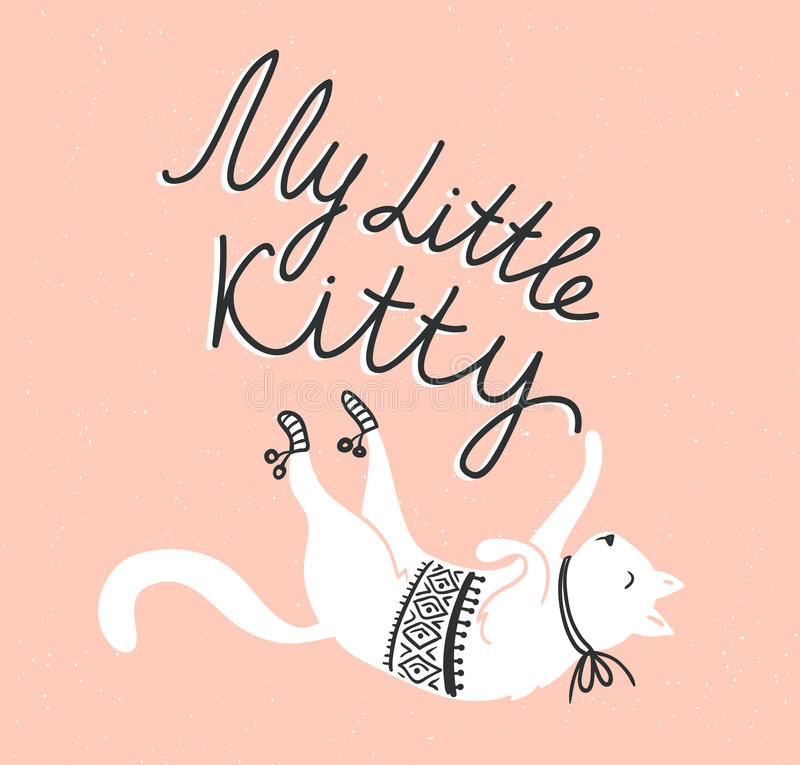 Vector card with cute white cat and stylish lettering 'my little kitty'. On the grunge background royalty free illustration