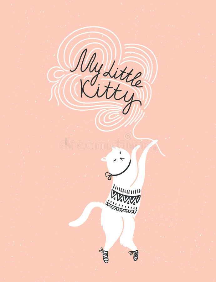 Vector card with cute white cat and stylish lettering 'my little kitty'. On the grunge background stock illustration