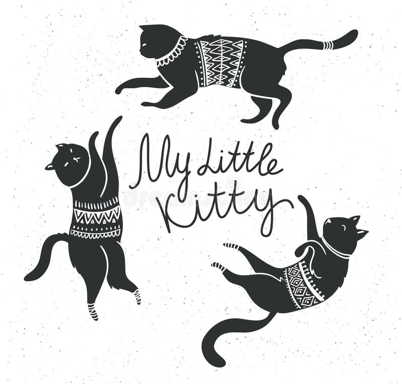 Vector card with cute white cats and stylish lettering 'my little kitty'. Vector card with cute white cats and stylish lettering 'my little kitty' on the grunge stock illustration