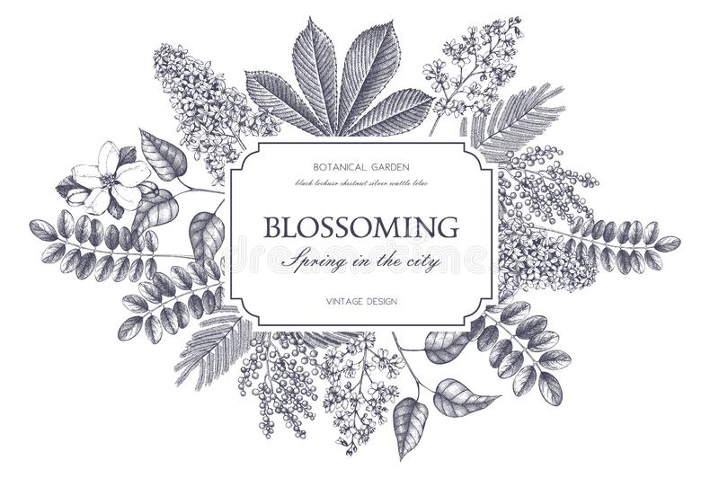 Vector card design with hand drawn blossoming trees. Floral wedding invitation template vector illustration