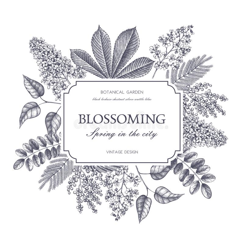 Vector card design with hand drawn blossoming trees. Floral wedding invitation template stock illustration
