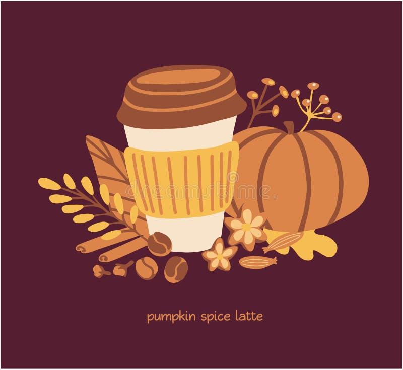 Vector card design Pumpkin spice latte on dark brown background. royalty free illustration