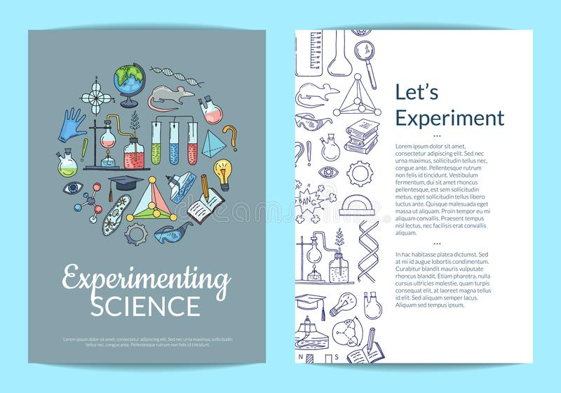Vector Card Or Flyer Template With Sketched Science Or Chemistry