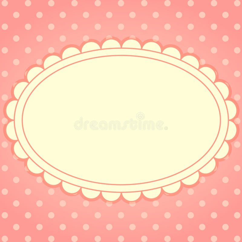 Vector card with frame and polka dot background. royalty free illustration