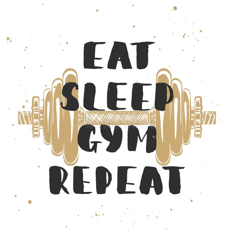 Vector card with hand drawn unique typography design element for greeting cards, decoration, prints and posters. Eat, sleep, gym, repeat with sketch of vector illustration