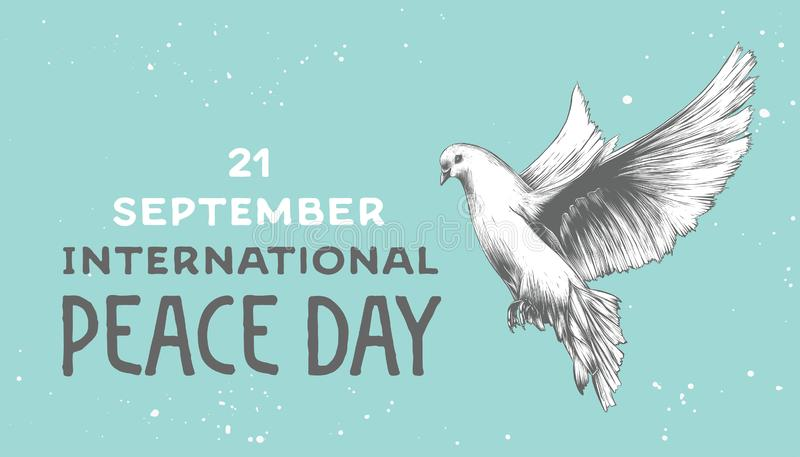 Vector card with hand drawn unique typography design element. For greeting cards, decoration, prints and posters. International peace day with sketch of dove vector illustration