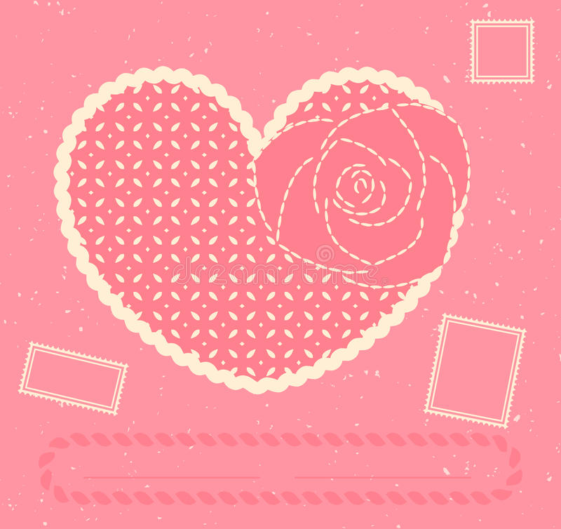 Download Vector Card With Heart, Rose And Three Postage Sta Stock Vector - Image: 22214020