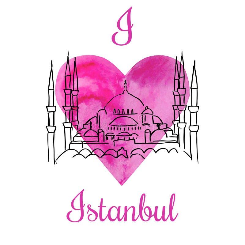 Vector card I love Istanbul stock illustration