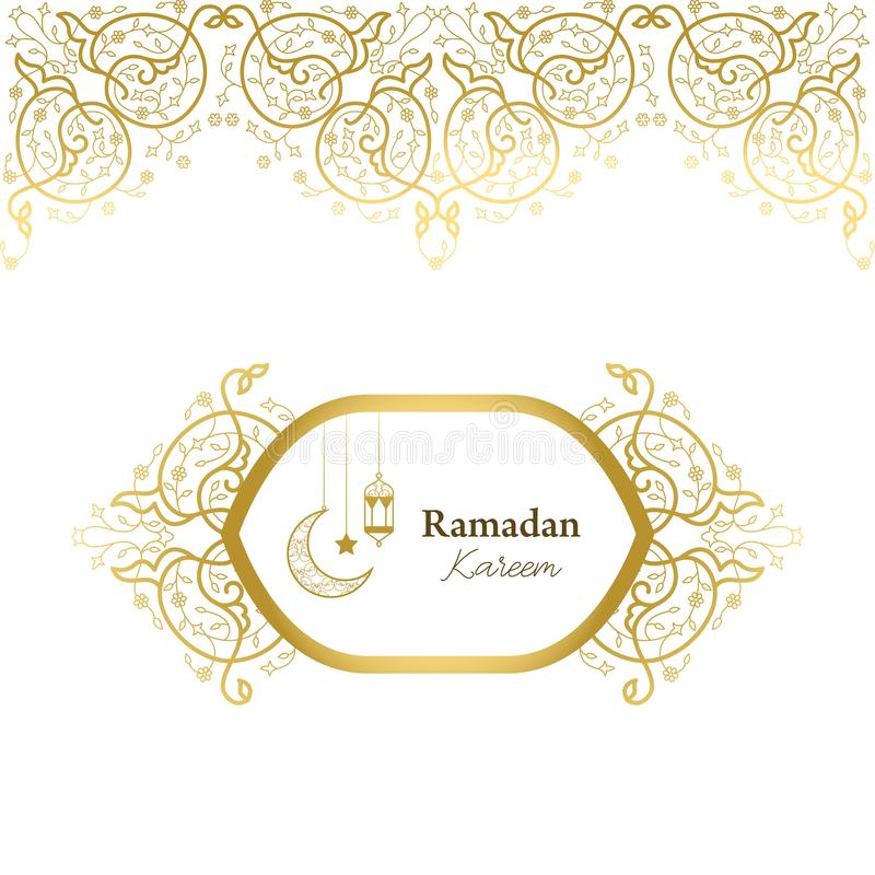Vector card in islamic style, lace ornament, border, ramadan greeting, element for wedding decoration. stock photo