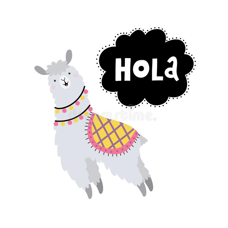 Vector card with lama and text Hola royalty free stock photo