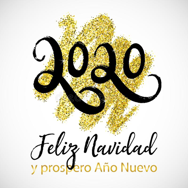 Vector Card Merry Christmas And Happy New Year In Spanish ...