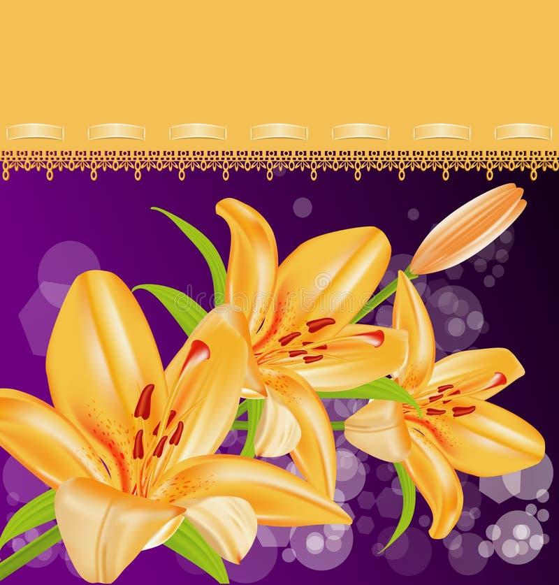 Vector card: orange lilies