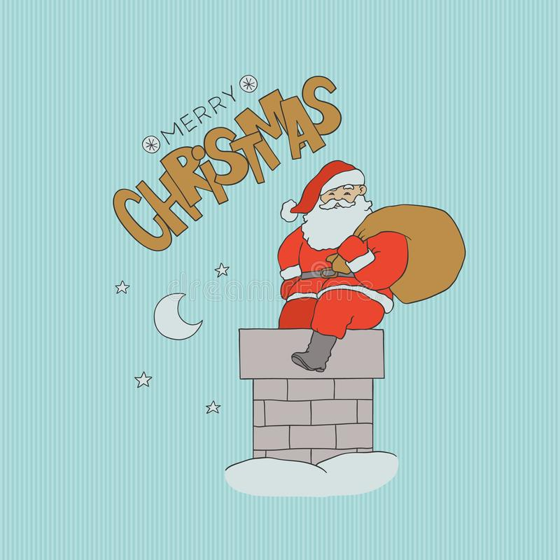 Vector card Santa Claus sitting chimney with bag gifts. Christmas holiday night with moon and stars in sky. Gold. Lettering sketch letters. Contour flat vector illustration