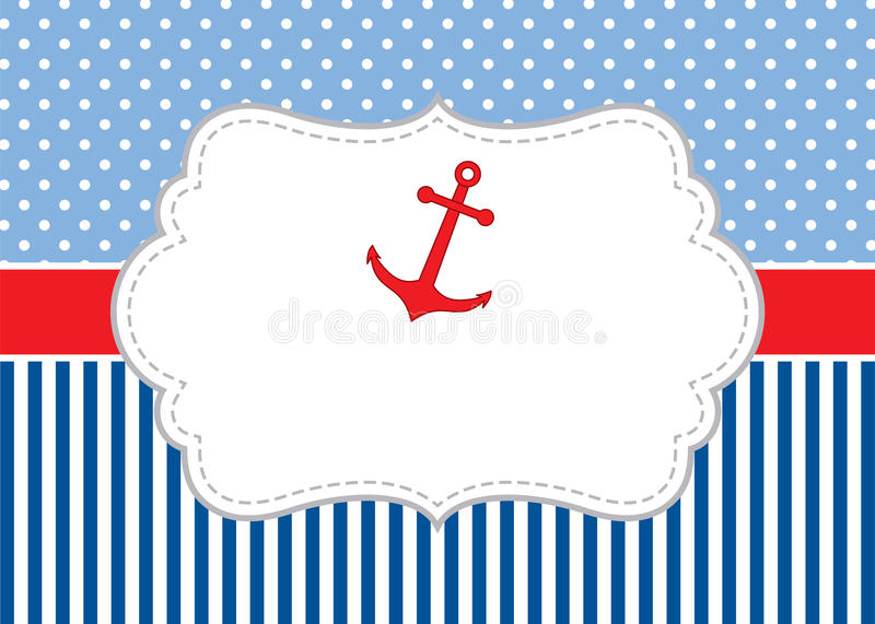 Vector Card Template With Anchor On Polka Dot And Striped Background ...