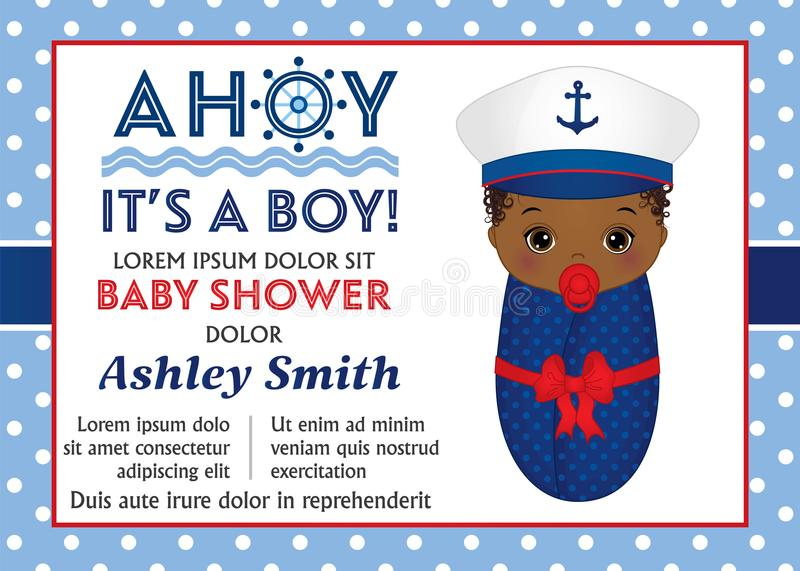 Vector Card Template for Baby Shower. Vector Baby Boy stock illustration