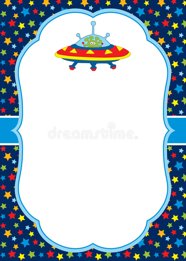 Vector Card Template with a Cute Alien and UFO on Stars Background. Card template for baby shower, birthday and parties with space for your text. Vector vector illustration