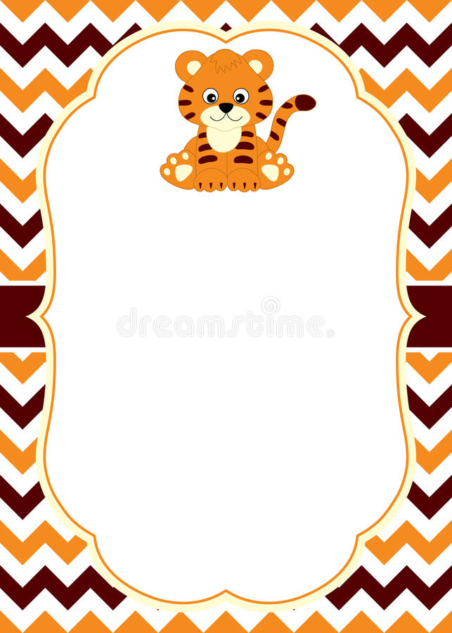 Vector Card Template with a Cute Baby Tiger on Chevron Background. Card template for baby shower, birthday and parties with space for your text. Vector stock illustration