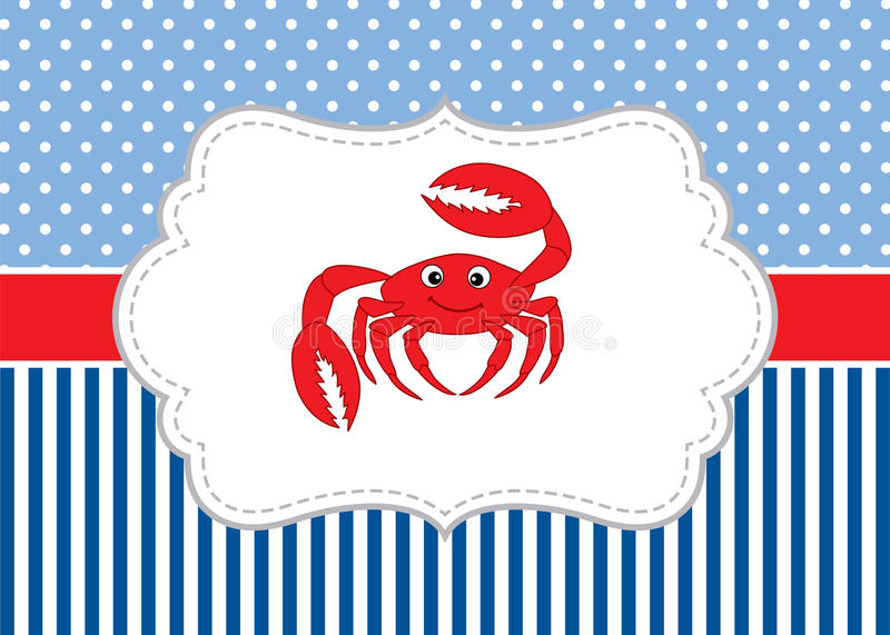 Vector Card Template with a Cute Crab on Polka Dot and Stripes Background. Vector Crab. vector illustration