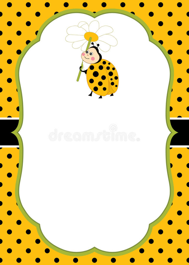 Vector Card Template with a Cute Ladybug on Polka Dot Background. Vector Ladybird. Vector card template with a cute cartoon ladybug on polka dot background royalty free illustration