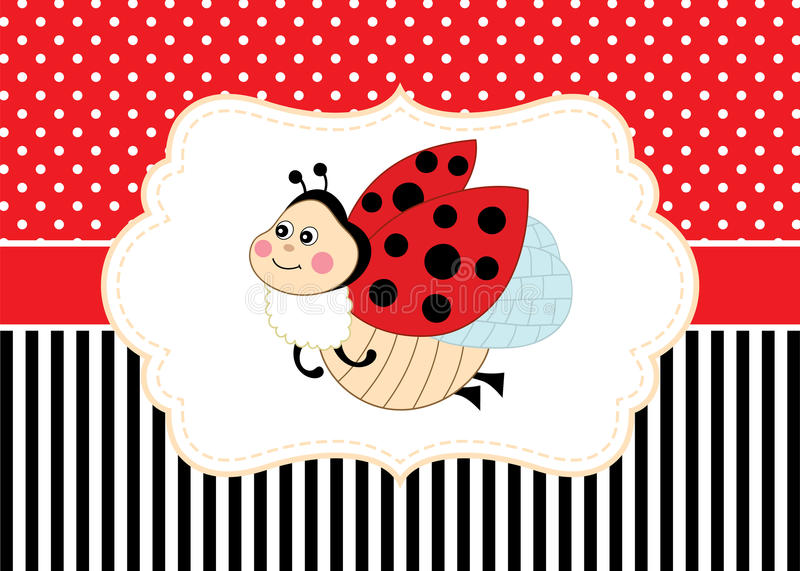 Vector card template with a cute ladybug on polka dot and stripes download vector card template with a cute ladybug on polka dot and stripes background vector stopboris Images