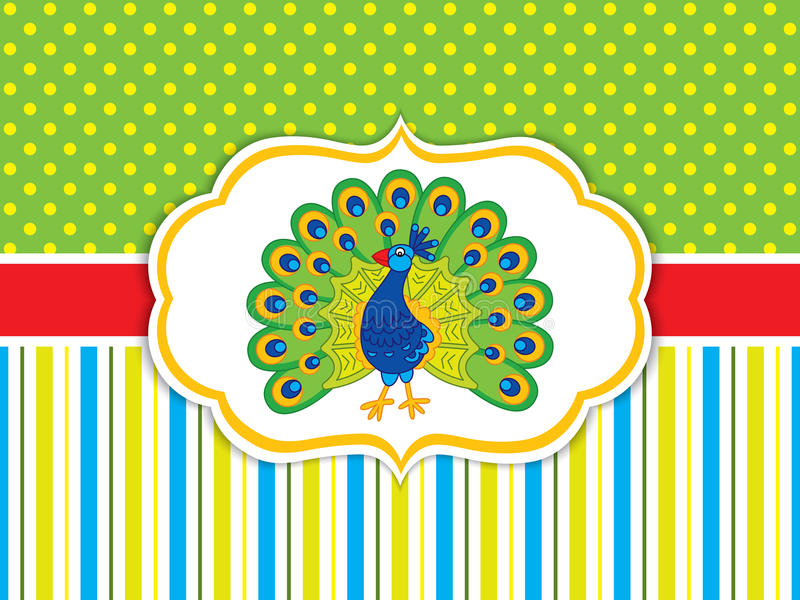 Vector Card Template with Cute Peacock. Vector peafowl. stock illustration