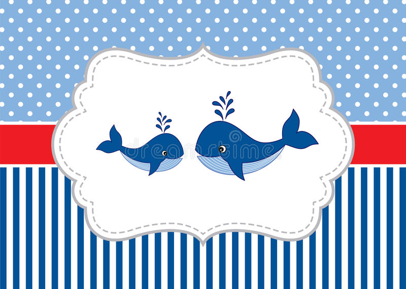 Vector Card Template with Cute Whales on Polka Dot and Stripes Background. Vector Whale. royalty free illustration