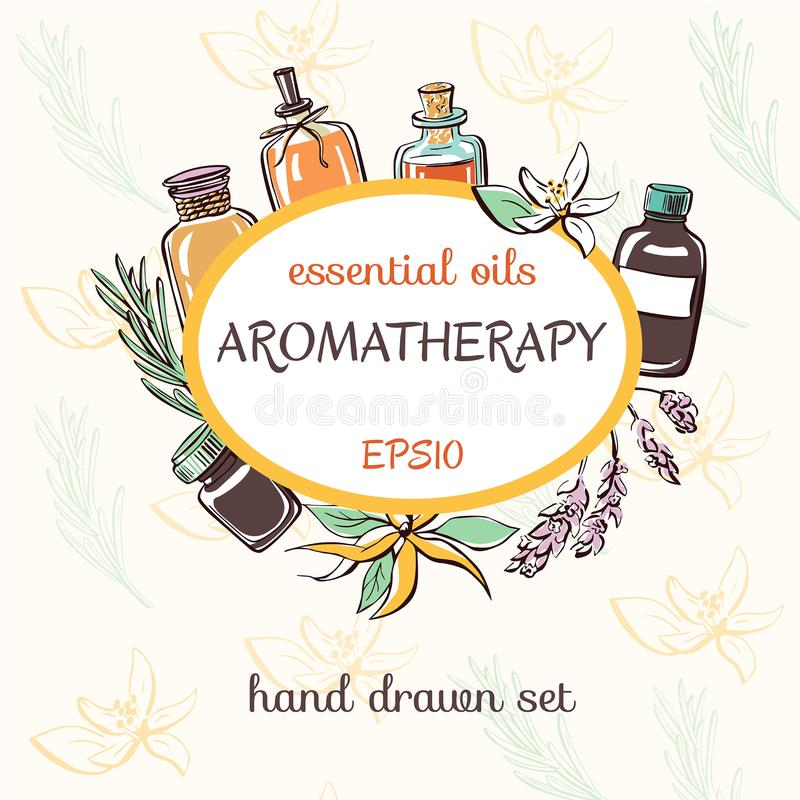 Vector card template with doodle essential oil bottles royalty free illustration