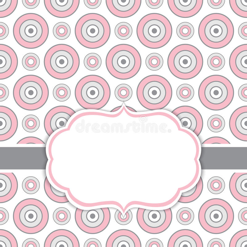 Vector Card Template with a Frame on Circles Background with Space for Your Text. Geometric background with circles ornament in rose pink and grey color vector illustration