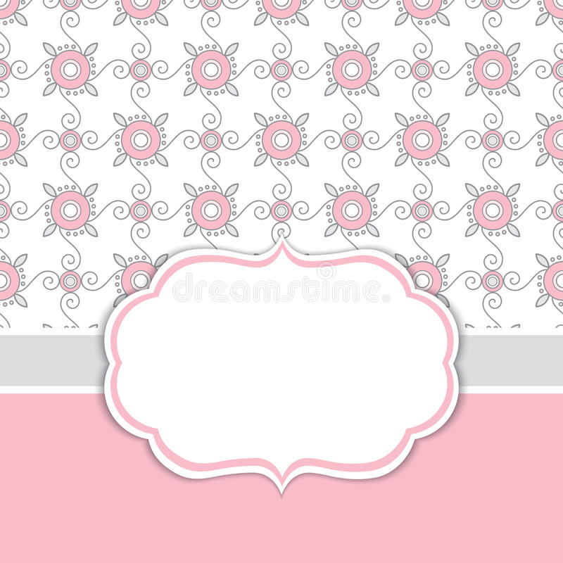 Vector Card Template with a Frame on Floral Ornamental Background with Space for Your Text. Geometric background with floral ornament in rose pink and grey stock illustration