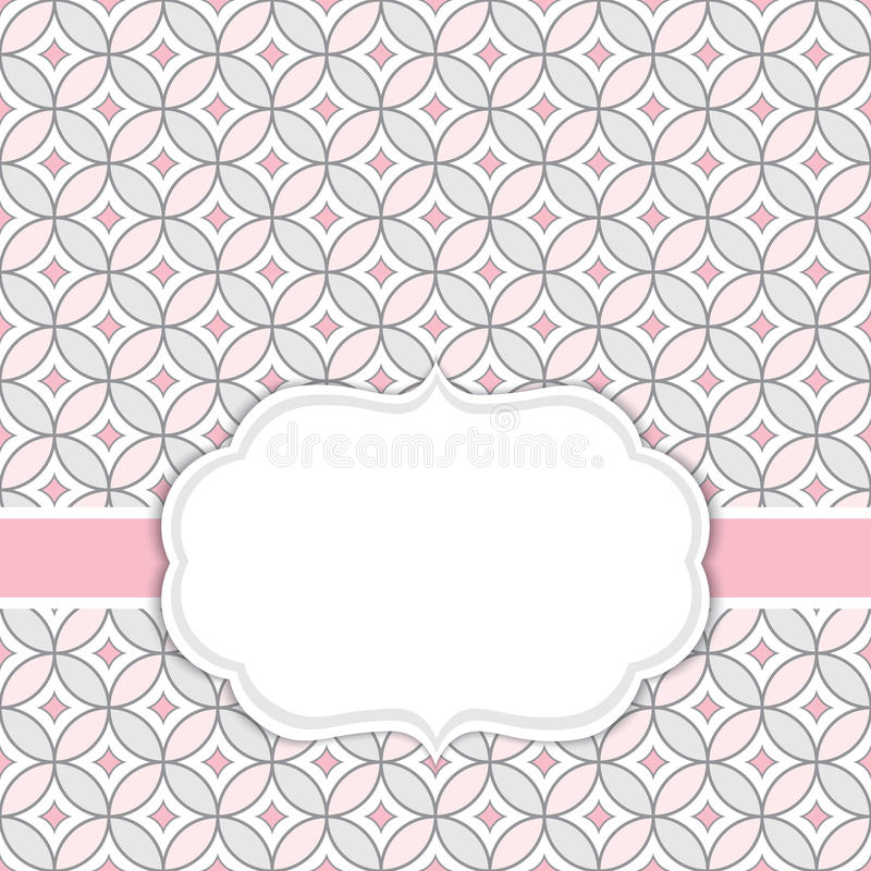 Vector Card Template with a Frame on Floral Ornamental Background with Space for Your Text. Vector card template with a frame on ornamental background in rose vector illustration