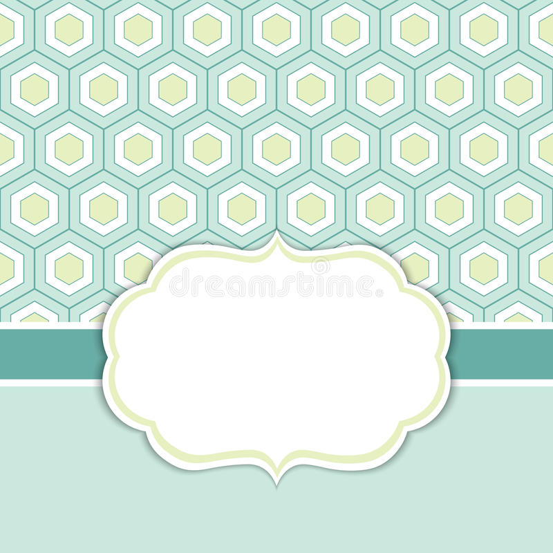 Vector Card Template with a Frame on Honeycomb Background with Space for Your Text. Geometric background with honeycomb ornament in turquoise, lime green and stock illustration