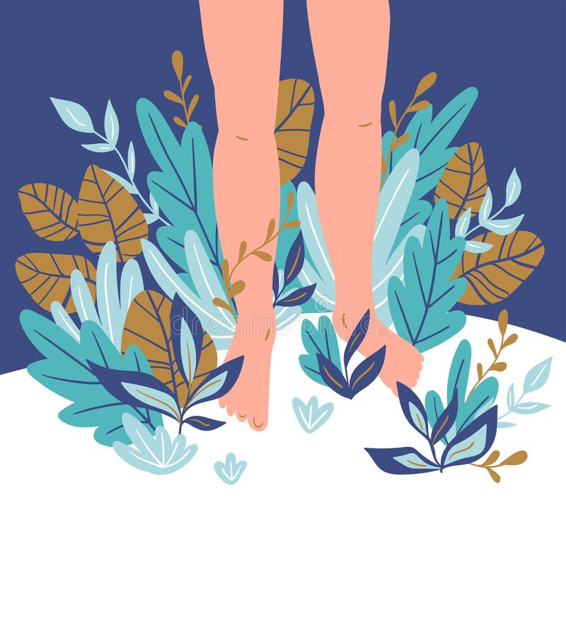Vector card template with human feet, plants, leaves and place for a text. Healthy design. Vector card template with human feet, plants, leaves and place for a vector illustration