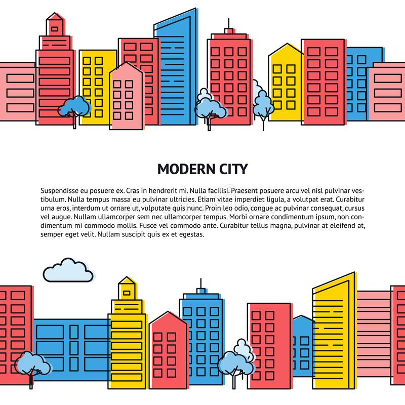Vector card template with seamless city skyline in thin line style. Vector card with seamless city skyline in thin line style. Banner or flyer template with vector illustration