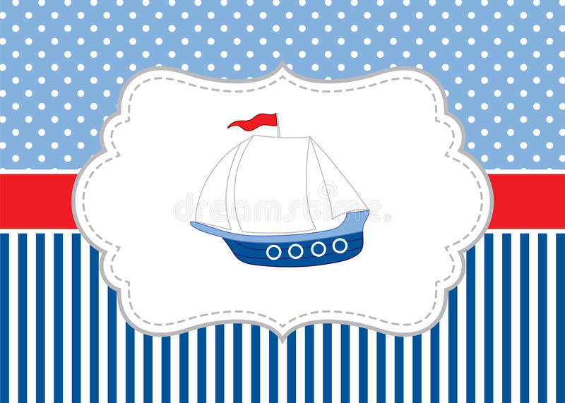 Vector Card Template with a Ship on Polka Dot and Stripes Background. Vector Nautical. royalty free illustration