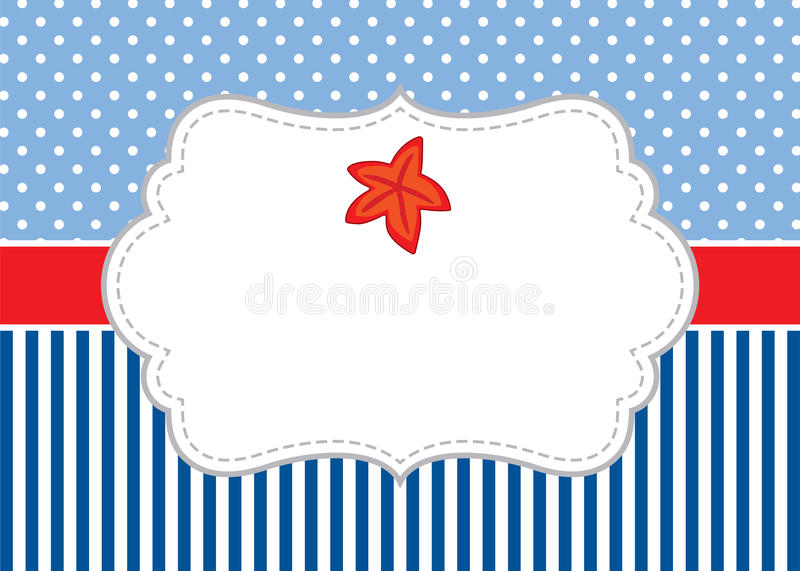 Vector Card Template with a Starfish on Polka Dot and Stripes Background. Vector Starfish. vector illustration