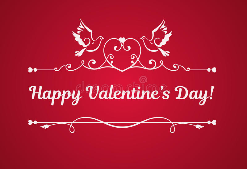 Vector card with text Happy Valentines Day. royalty free illustration