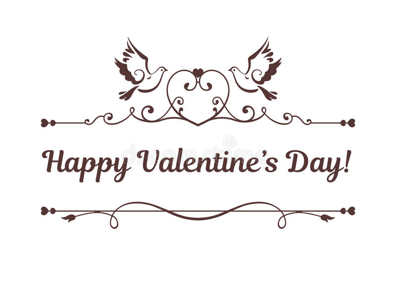 Vector card with text Happy Valentines Day stock illustration